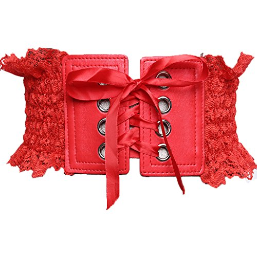 Charming House Women Lace Wide Stretchable Ribbon Tied Elastic Corset Wrap Belt (Red 1) (Charming House)