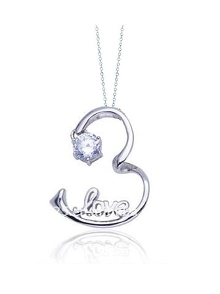 Goldminetrade Sterling Silver Simulated Diamond Open Heart Love Pendant Necklace 18 Inch