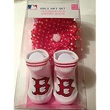 MLB Boston Red Sox Girls Gift Set - Gripper Socks / Headband 0-12