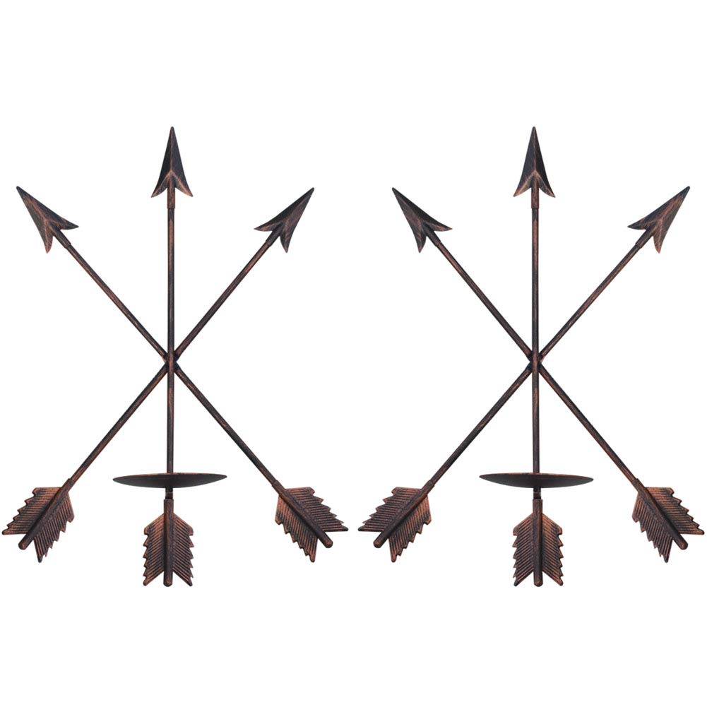 "smtyle DIY Arrow Candle Holders Set of 2 for Wall Decor with Rustic Red Copper Iron 3.5"" Diameter Ideal for Pillar LED Candles"