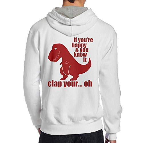 Xianliuli Happy and You Know It Dinosaur Men's Fashion Creative Casual Wear Cap With No Pocket Hoodie S White