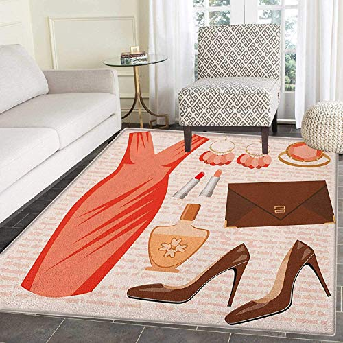 - Heels and Dresses Area Rug Carpet Accessories Fashion Cocktail Dress Lipstick Earrings High Heels Customize Door mats for Home Mat 4'x6' Salmon Brown Peach