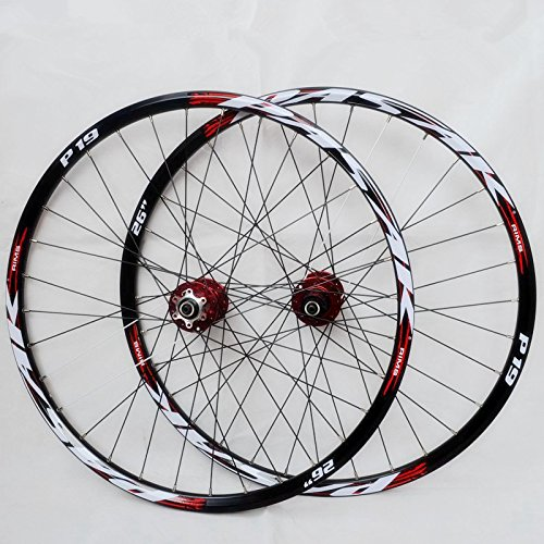 (JKLapin MTB Mountain Bike WheelFfront 2 Rear 4 Sealed Bearing Hub Disc Wheelset Wheels 26inch Flat Spokes Rim (26inch red))