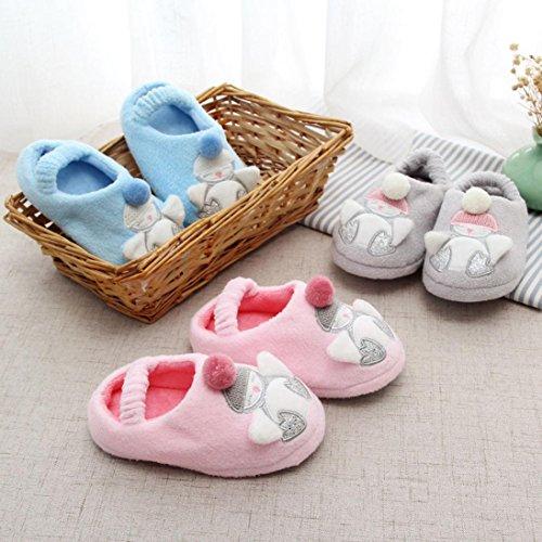 Huhu833 Baby Schuhe Kid Baby Mädchen Jungen Soft Cartoon Design Kleinkind Warming Schuhe Haushalt Slipper Blau