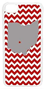 CellPowerCasesTM State of Ohio Red Chevron Case for iPhone 5c (White Case)