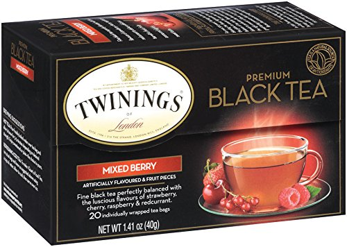 Twinings Flavored Black Tea, Mixed Berries, 20 Count Bagged Tea (6 Pack)