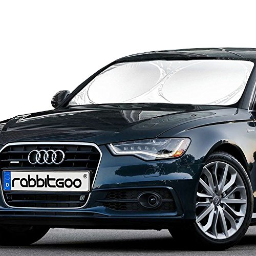 Rabbitgoo Front Car Windshield Sun Shade-Jumbo/Standard Car Sunshade Protector- A Powerful UV Ray Deflector-Best for Cool Interior & Dashboard Protection Large 63 x 33.86 Inches