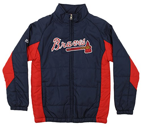 (Outerstuff MLB Youth's Double Climate Full Zip Jacket, Atlanta Braves Large (14-16))