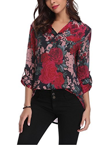 Abollria Womens Blouse Flower Print Long Sleeve Casual Blouse Shirt Tops (Blouse Flower Print)