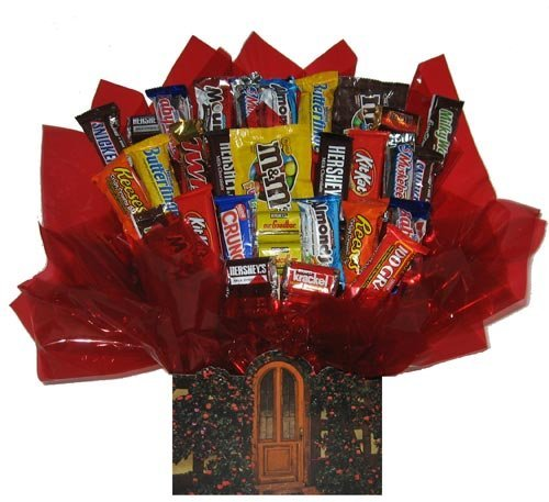 Chocolate Candy bouquet in a Welcome Home Cottage gift -