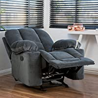 Raymond Steel Grey Fabric Glider Recliner Club Chair