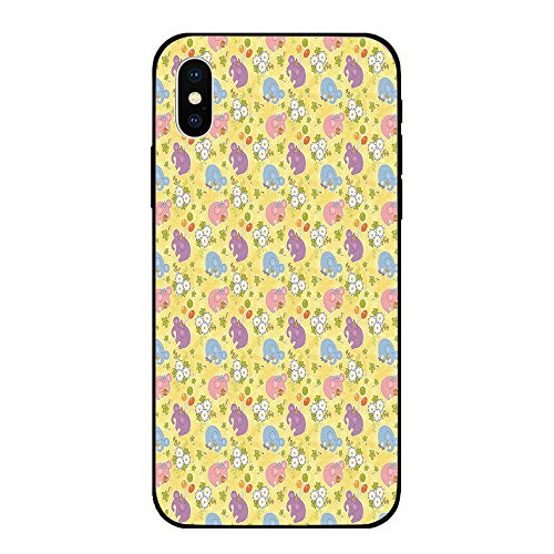 Phone Case Compatible with iPhone X BrandNew Tempered Glass Backplane,Elephant,Blossoming Cartoon Flowers and Animal Mascots Balloons Bow Ties Playful Clip Art,Multicolor,Anti-Shock and Shockproof