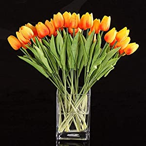 Vicanba Artificial & Dried Flowers - 10pcs Tulip Flower Latex Real Touch Decor Flowers Orange - Kissing Breath Lavender Wedding Spring Hyacinths Poppy Orchids Light Daisy Small Grey Peonies Flowers 10