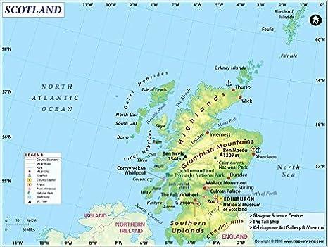 Scozia Cartina Dettagliata.Mappa Scozia Paese 91 4 Cm W X 69 1 Cm H Amazon It Cancelleria E Prodotti Per Ufficio