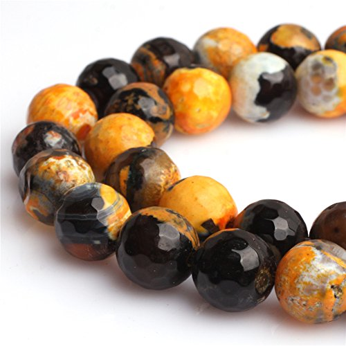 - Fire Agate Beads for Jewelry Making Semi Precious Gemstone 10mm Round Yellow and Black Strand 15