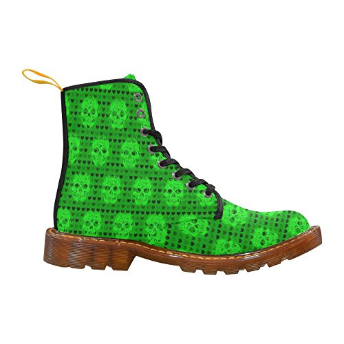 For Martin Men Fashion and green LEINTEREST Boots Shoes skulls hearts xOBqfw8R