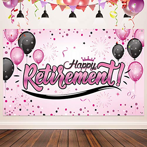 Happy Retirement Party Decorations, Giant Black and Gold Sign Retirement Party Banner Photo Booth Backdrop Background for Happy Retirement Party Supplies (Pink)