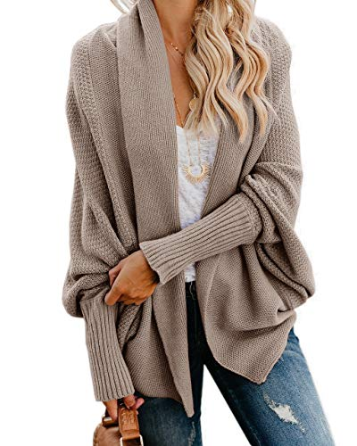 - Imily Bela Womens Kimono Batwing Cable Knitted Slouchy Oversized Wrap Cardigan Sweater (Medium, A-Khaki)