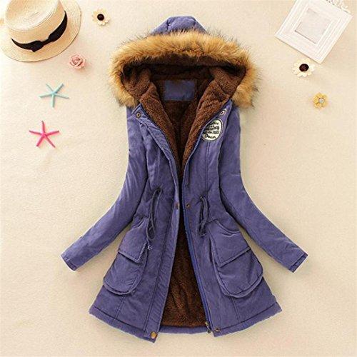 cuello con de invierno Parka Púrpura piel de capucha Abrigo cálido Chaqueta y largo Outwear para mujeres mujer de Manadlian Chaqueta Azqwq7