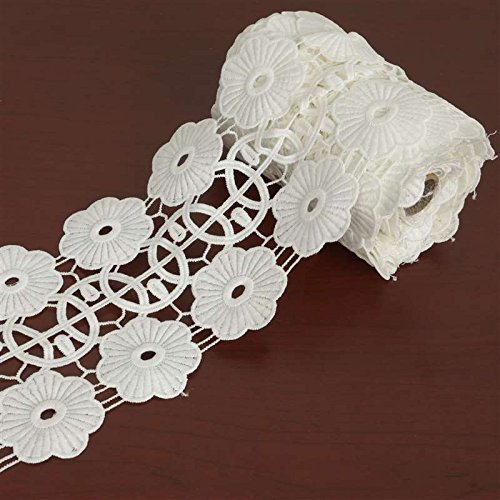 Daisy Wheel Crocheted Heavy Lace Ribbon Trim 4.3 Inch X 5Yards - White (Daisy Fork)