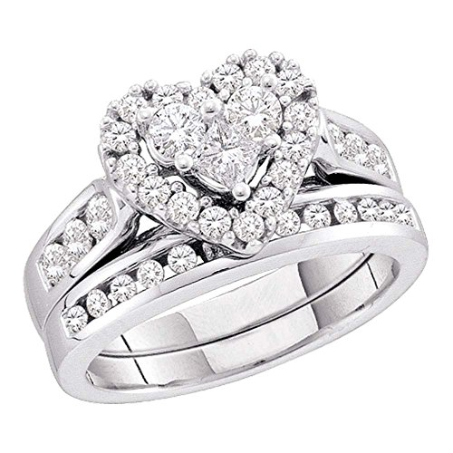 (Size - 7 - 14k White Gold Diamond Ladies Womens Bridal Engagement Ring with Matching Wedding Band Two 2 Ring Set Invisible Solitaire Style Center Setting with Side Stones Channel Set Heart Love Halo Princess and Round Cut Diamond Ring (1.01 cttw))