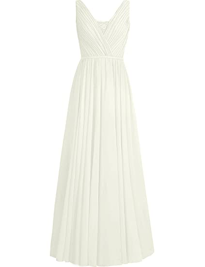 HUINI Lace Sheer V-Neck Long Chiffon Bridesmaid Prom Dresses Party Formal Gowns UK6