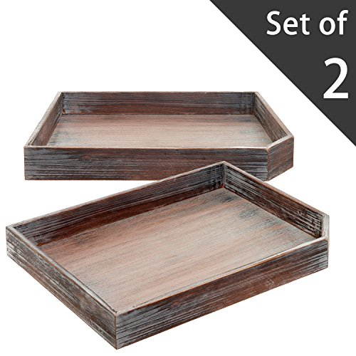 Set Of 2 Vintage Distressed Wood Breakfast Coffee Table Tray / Office  Desktop File, Mail, Document Holder
