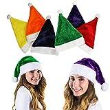 Tigerdoe Colorful Santa Hat - 6 Christmas Hats - Colored Santa Hats - Holiday Hats (6 Pc) -Santa Hats for Adults by