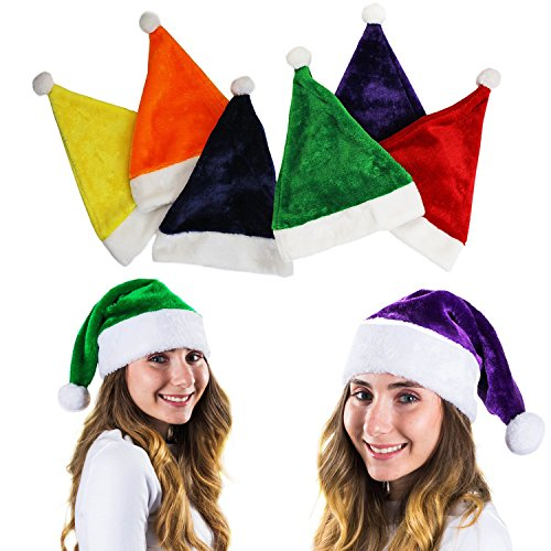 (Colorful Santa Hat - 6 Christmas Hats - Colored Santa Hats - Holiday Hats (6 Pc) -Santa Hats for Adults by)