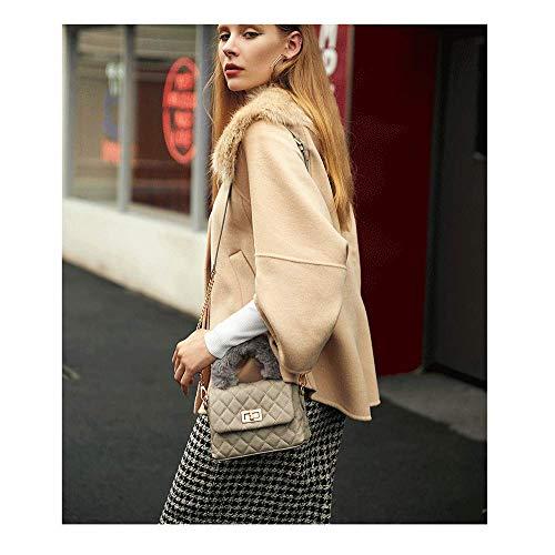 E 11 Tamaño color 19 Invierno Messenger Cuero Bandolera Peluche Bag Gray Gray Nueva Bolso Mujer Personalidad Otoño Moda 5 De 5cm 7 Cadena Rhombic Modelos 2018 qHRBv
