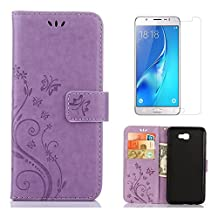 """for Samsung Galaxy J7 Prime Case Wallet,OYIME with Screen Protector Kickstand [Butterfly Flower Embossed] Magnetic Flip Leather Protective Back Cover Card Slot Holder with Lanyard Strap for """"Galaxy J7 Prime"""" (NOT For Galaxy J7) -Pure Purple"""
