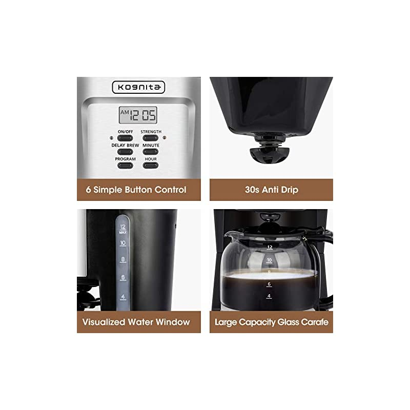 Kognita 12 Cup Coffee Maker, Programmable Small Coffee Maker with Glass Carafe and Filter, Dirp Coffee Maker Coffee Pot…
