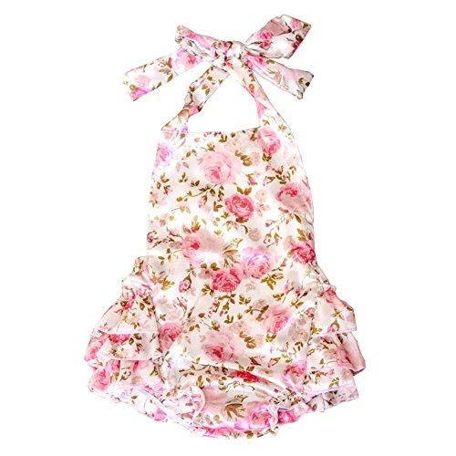 Lisianthus Baby Girls' Ruffles Romper Dress Summer Clothing Rose A Size 24M