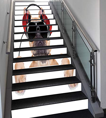 Stair Stickers Wall Stickers,13 PCS Self-adhesive,Popstar Party,Dj Bulldog with Headphones Listening to Music behind White Banner,Light Brown Black Red,Stair Riser Decal for Living Room, Hall, Kids Ro