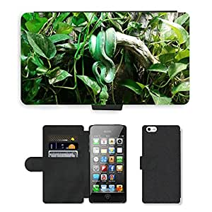 Hot Style Cell Phone Card Slot PU Leather Wallet Case // M00114075 Snake Green Snake Tropicarium Budapest // Apple iPhone 5 5S 5G