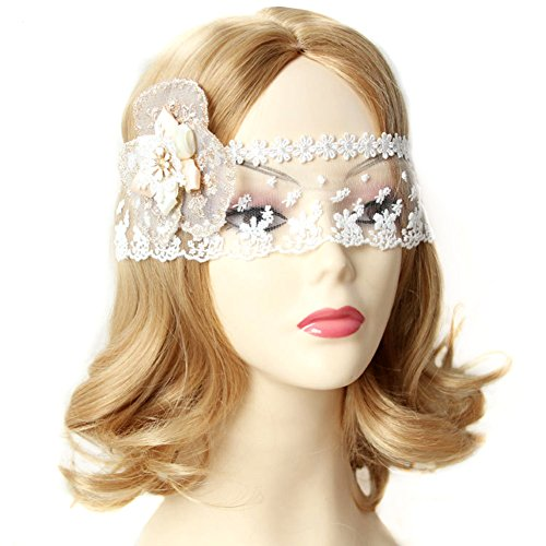 QTMY Sexy White Lace Flower Face Veil Headdress for Halloween Party (Lace Headdress)