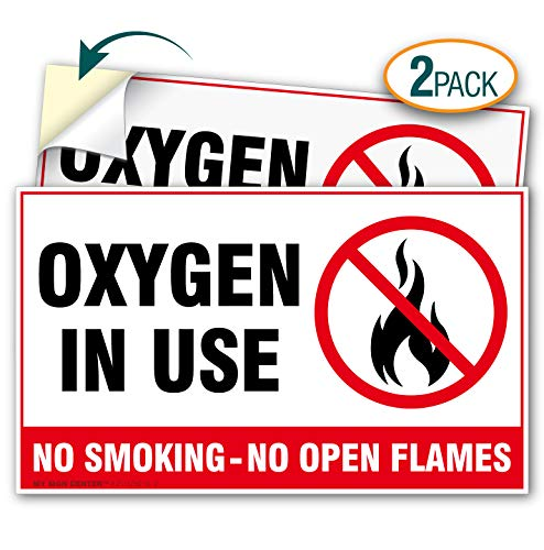 (2 Pack) Oxygen in Use No Smoking No Open Flames Decal Sign - 3