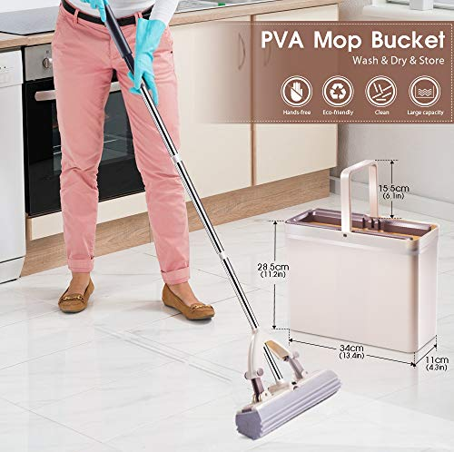 Sponge Mop and Bucket with 3 Pcs Super Absorbent PVA Sponge Head Self Cleaning Lazy Floor Mop Bucket with Washing Drying and storage by MASTERTOP (Image #6)