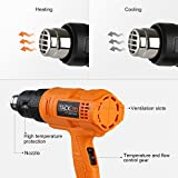 Tacklife HGP70AC Heave Duty Heat Gun 1500w 122℉~ 1022℉(50℃- 550℃)with Three-Temperature Settings Four Nozzle Attachments for Stripping Paint, Bending Pipes, Lighting BBQ