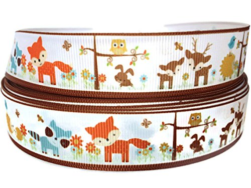 5 Yards 7/8 inch Grosgrain Woodland Fox Ribbon By The Yard by KC Elastic Ties (Woodland Tie)