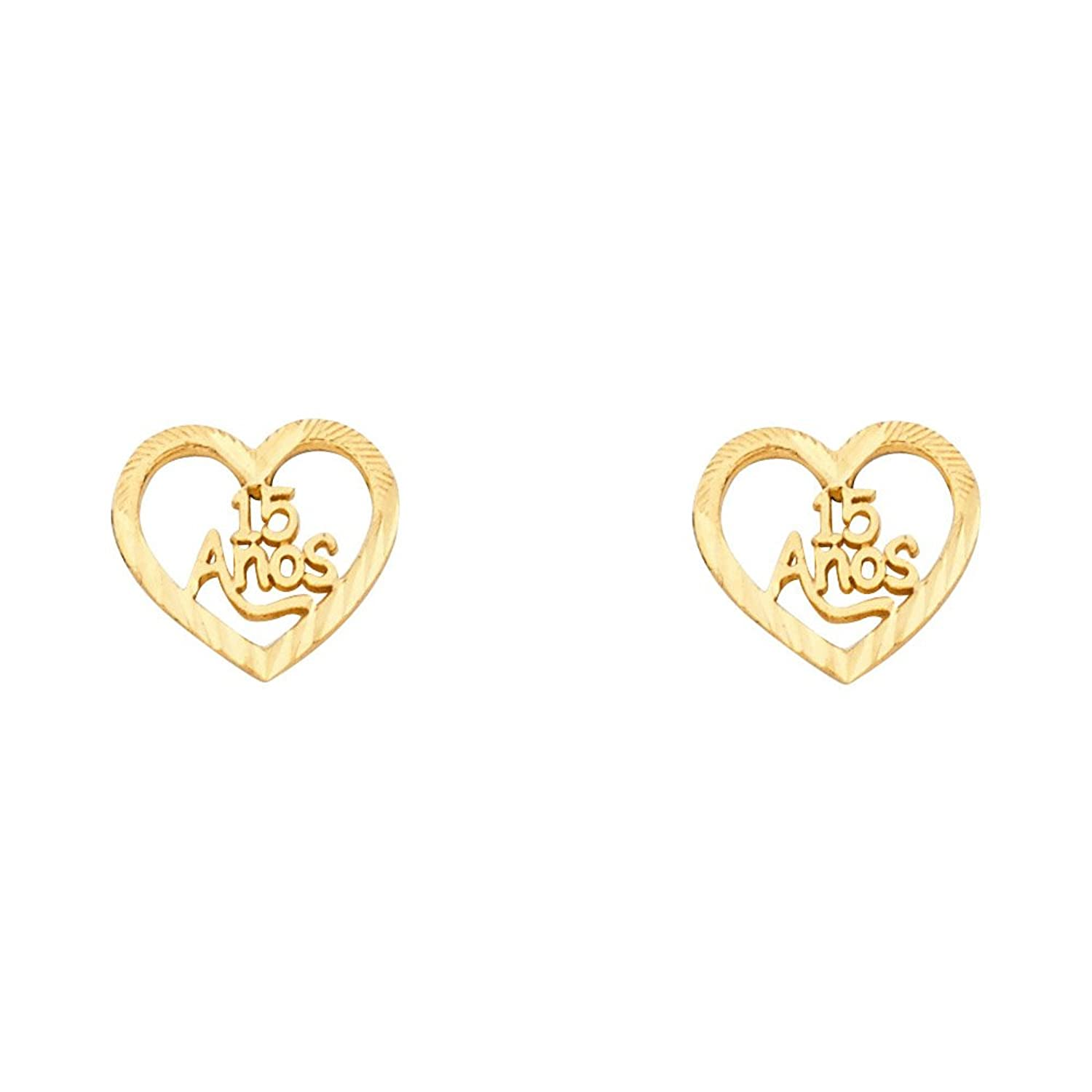 14k Yellow Gold Fancy 15 Quinceañera Heart Stud Earrings (10 X 10mm)