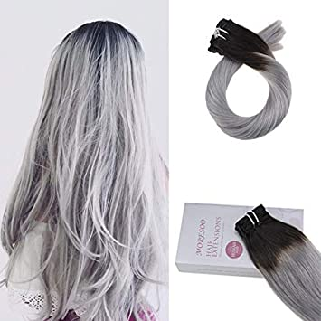 Moresoo 24 Pouce Extensions Tie And Dye Clips Couleur 1b Off Noir