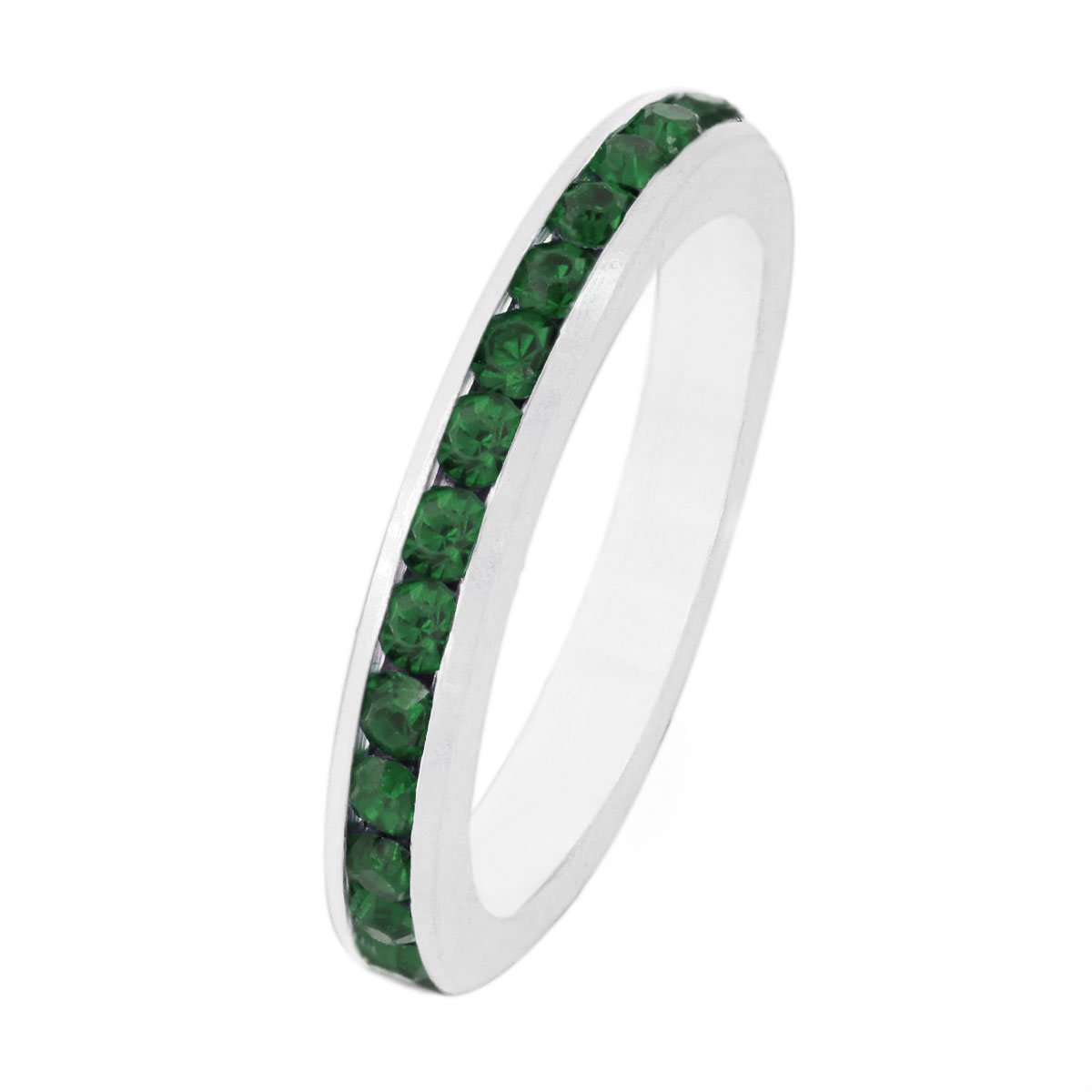 925 Sterling Silver & Emerald Green Color Cubic Zirconia CZ Stackable Full Eternity Ring Band 3 mm (Sizes 5-11) (11)