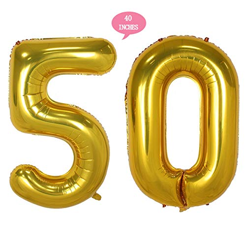 Bechampion 40 Inch Gold 50 Jumbo Digital Number Balloons Huge Giant Balloons Foil Mylar Number Balloons For 50th Birthday Party Decorations and 50th Anniversary Event