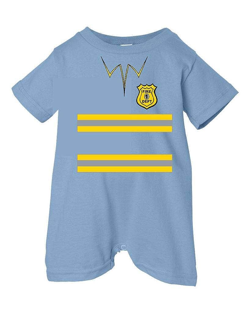 Festive Threads Unisex Baby Halloween Fireman Costume T-Shirt Romper Lt. Blue, 12 Months