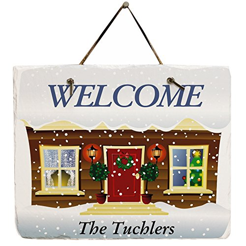 - GiftsForYouNow Personalized Winter Welcome Slate Plaque
