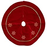 "Northlight 24"" Red Velvety Christmas Tree Skirt with White Embroidered Snowflakes"