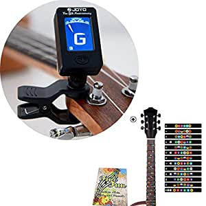 Guitar Clip-on Tuner and Fretboard Note Decals Fingerboard Frets Map Sticker for Beginner Learner Practice Fit 6 Strings Acoustic Electric Guitar (With Tuner)