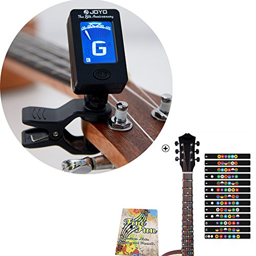 - Guitar Clip-on Tuner and Fretboard Note Decals Fingerboard Frets Map Sticker for Beginner Learner Practice Fit 6 Strings Acoustic Electric Guitar (With Tuner)