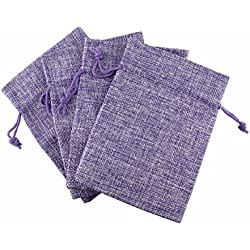 QIANHAILIZZ 22 Pack 4 x 5.5 Inch Linen Drawstring Bags Hessian Jewelry Gift Pouch Candy Pouch Flax Drawstring Wedding Favor Bags (lilac)